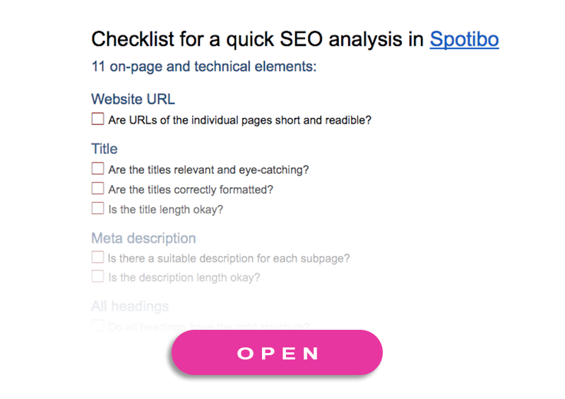 Checklist for a quick SEO analysis