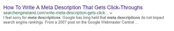 Meta description length in Yahoo