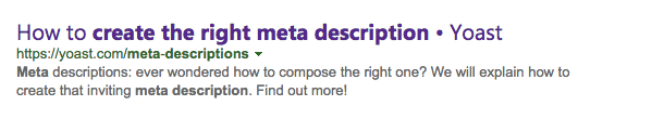 Meta description generated in Bing