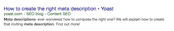 Meta descriptions generated by Yahoo