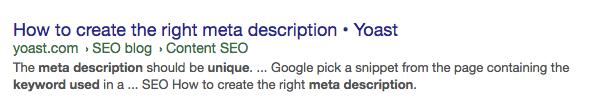 Generating meta description by Yahoo