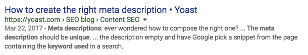 Generating meta description by Google