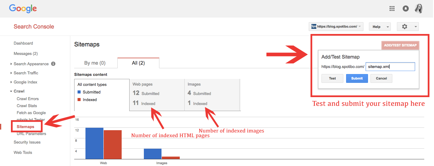 Add sitemap to Google Search Console