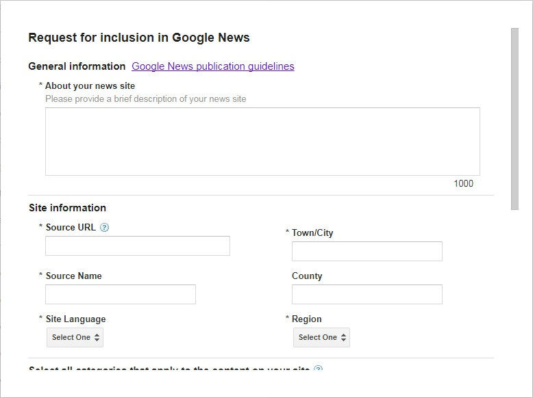 Register yourself as a publisher to use Google News Sitemap